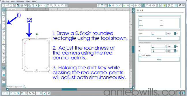 Designing Simple Tag Shapes in Silhouette Studio by Annie Williams - Draw Rounded Rectangle