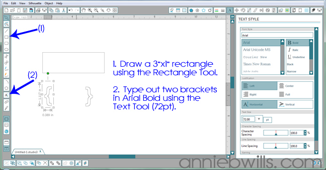 Designing Simple Tag Shapes in Silhouette Studio by Annie Williams - Drawing Slider Tag