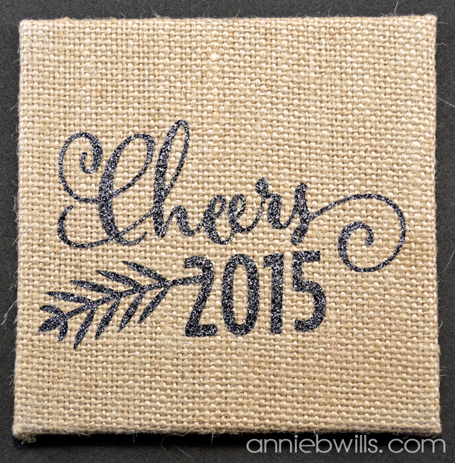 Burlap New Years Eve Coasters by Annie Williams - Cheers Detail