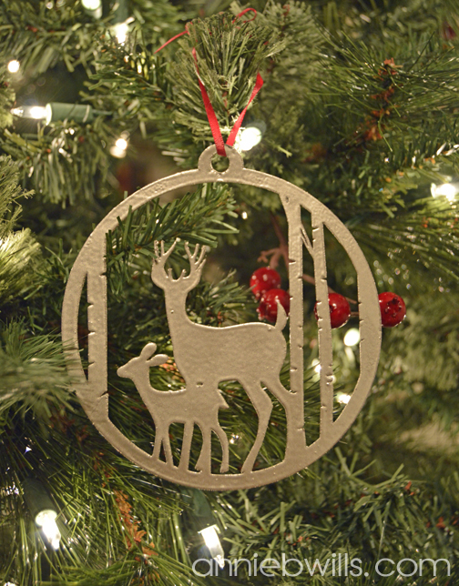 faux metal christmas ornaments by annie williams deer detail - Metal Christmas Ornaments