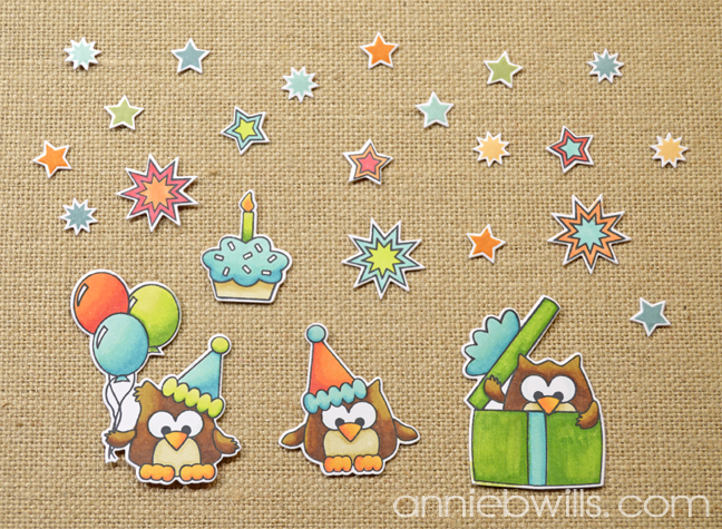 Birthday Owl Treat Bags by Annie Williams - Diecuts