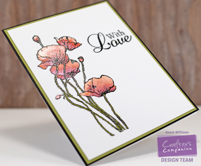 Love With Sparkly Poppies Card by Annie Williams - Detail
