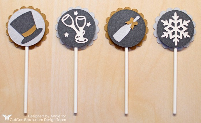 New Year's Eve Cupcake Toppers by Annie Williams for CutCardStock - Assembled