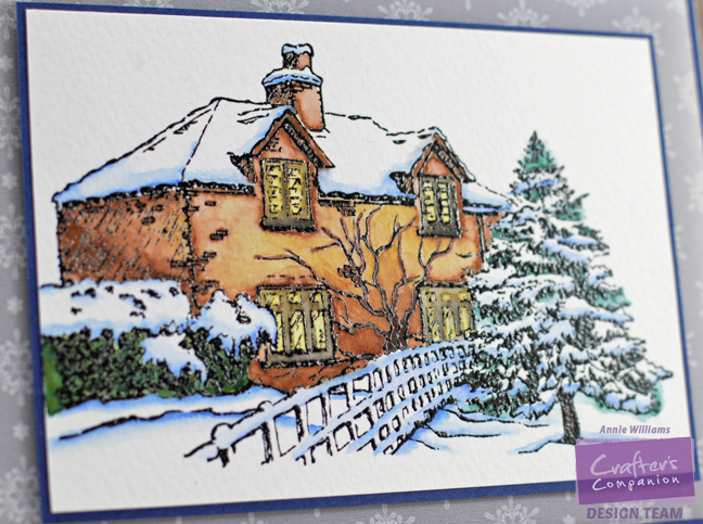 Watercolor Christmas House Card by Annie Williams - Detail