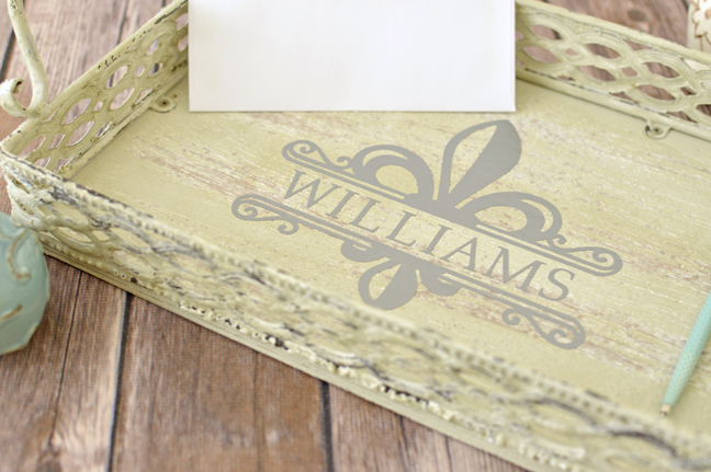 Monogrammed Letter Tray by Annie Williams - Detail