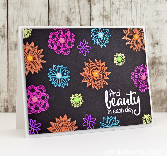 Neon Floral Embossed Card by Annie Williams - Main