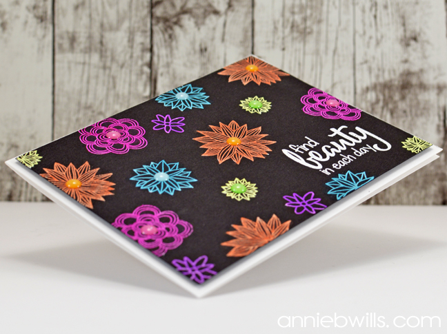Neon Floral Embossed Card by Annie Williams - Side