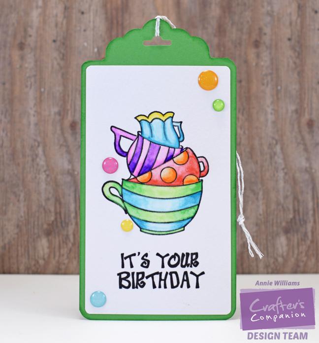 Spectrum Aqua Birthday Tags by Annie Williams - Cups
