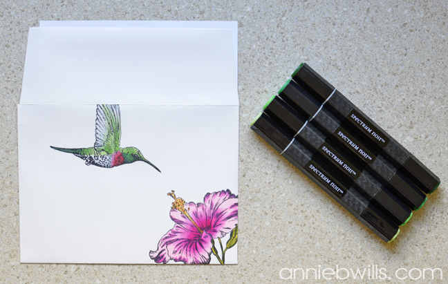 Hummingbird Mail Art by Annie Williams - Coloring