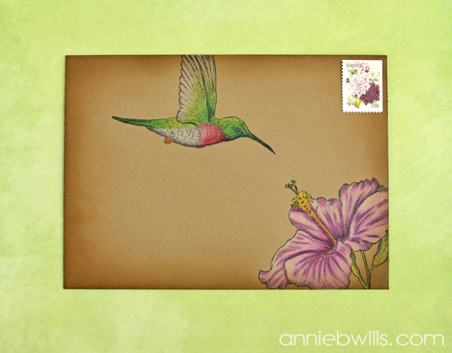 Hummingbird Mail Art by Annie Williams - Kraft