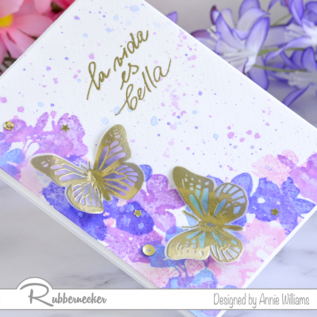 Rubbernecker Blog Loose-Watercolor-Butterfly-Cards-by-Annie-Williams-Hydrangea-Card-Detail