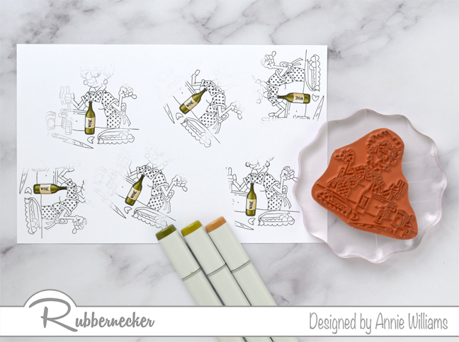Rubbernecker Blog Ethel-Cooking-With-Too-Much-Wine-Card-by-Annie-Williams-Coloring-Extra-Bottles