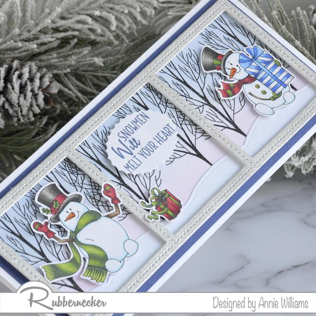Rubbernecker Blog Snowman-Slimline-Card-by-Annie-Williams-Detail