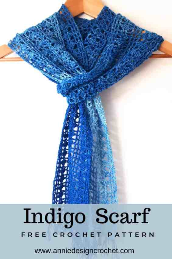 Crochet lace scarf in easy repeat pattern