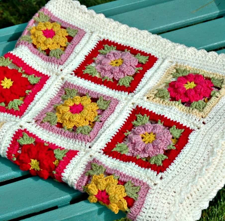 Vintage Flower Crochet Blanket Pattern and Kit