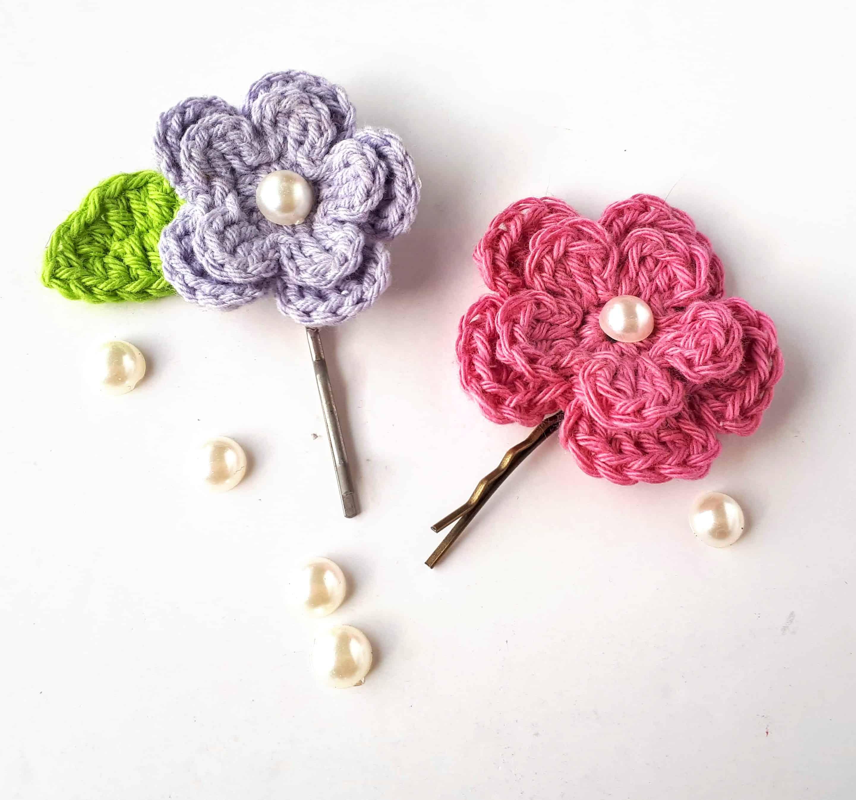 Spring Flower Hair Clips Free Crochet Pattern Annie