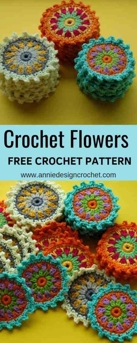 Flower Motif Coasters Free Crochet Pattern Annie Design Crochet