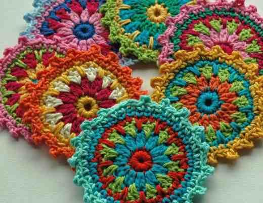 crochet flower coaster free pattern