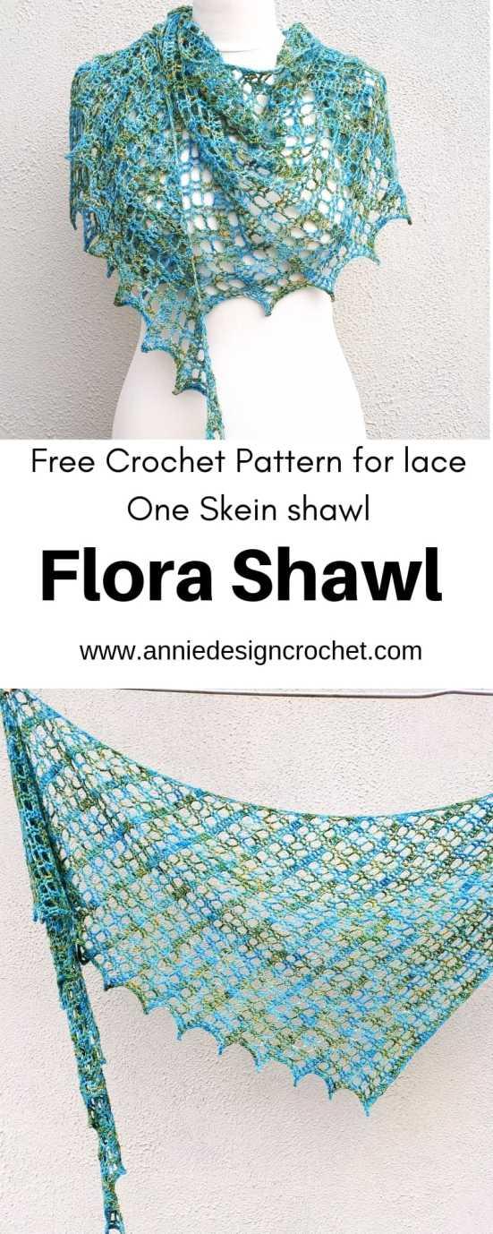 crochet one skein shawl free pattern