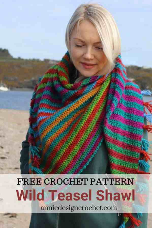 free crochet pattern triangle shawl in gradient yarn