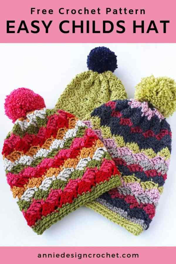 Easy Childrens Hats – Free Crochet Pattern – Annie Design Crochet