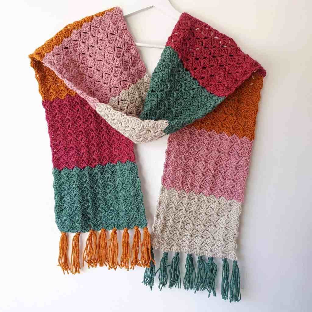Crochet Color-Block Scarf – Easy Free Pattern
