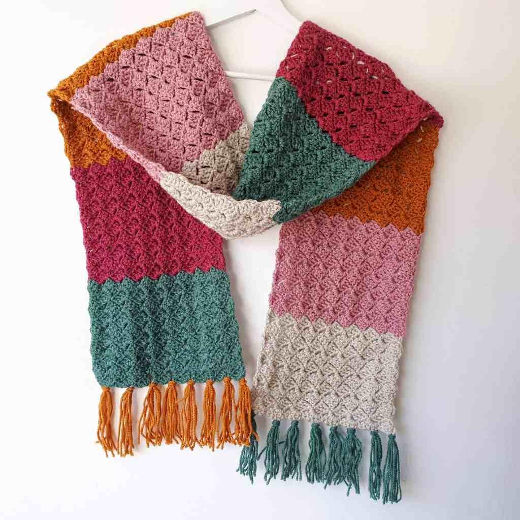 Crochet Color-Block Scarf – Easy Free Pattern