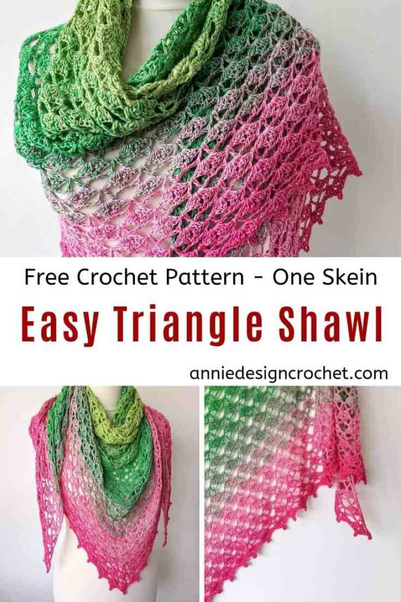 free crochet triangle shawl with a shell pattern