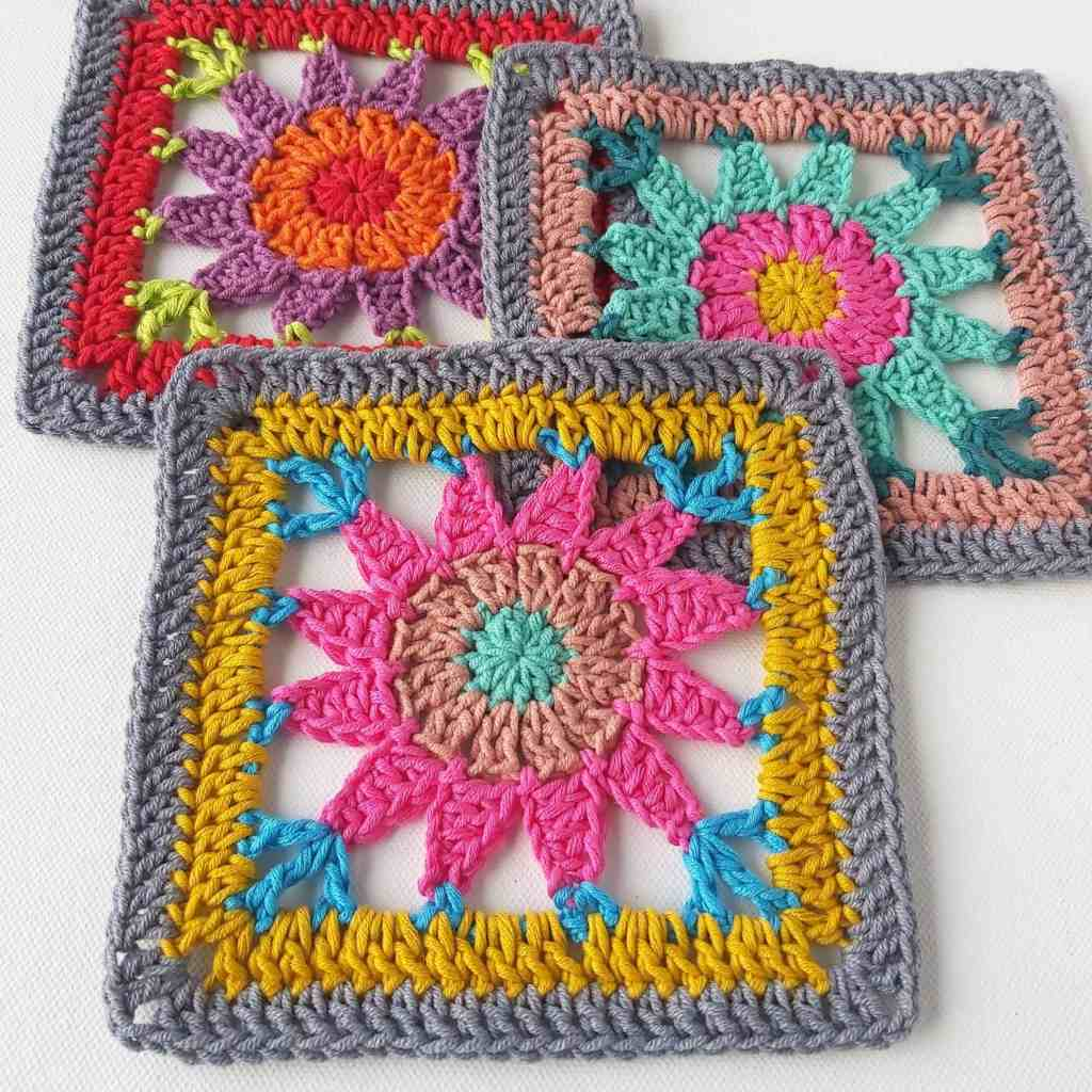 Cosmos Square – Square 3 of Bláithín Blanket Stash Busting CAL