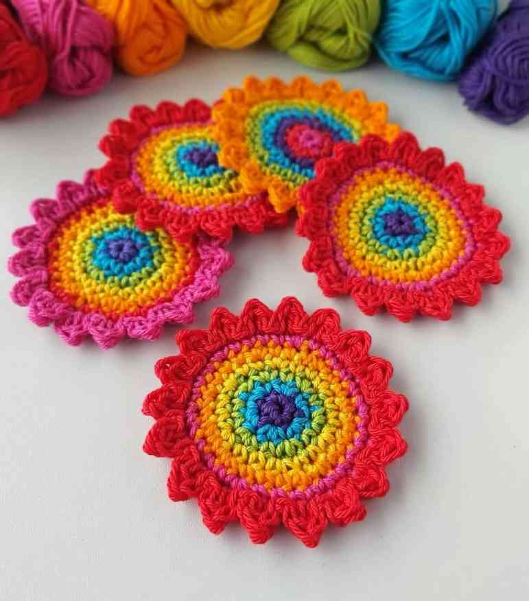 Crochet rainbow flower applique