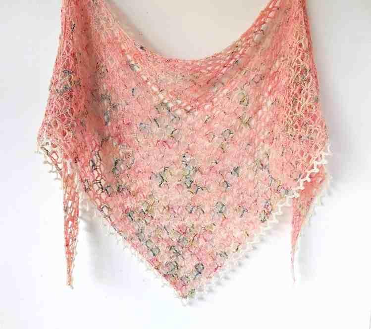 vintage peach one skein crochet shawl