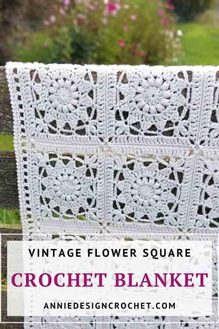 crochet blanket flower squares pattern