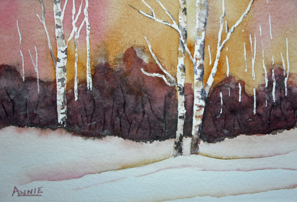 Winter Scenes Painted with Warm Pigments | Sketching and Painting