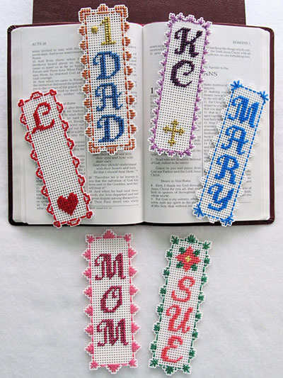 personalized bookmarks plastic canvas