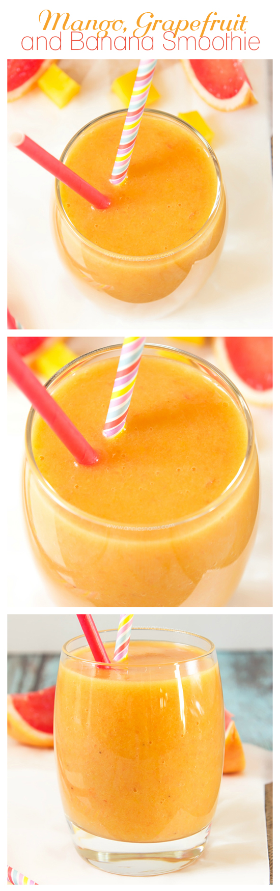 This Mango, Grapefruit and Banana Smoothie marries the strong, tart flavours of grapefruit with the soft, creamy taste of banana and tropical, sweet mango. Filling, fruity and just perfect to inject some sunshine into your day!