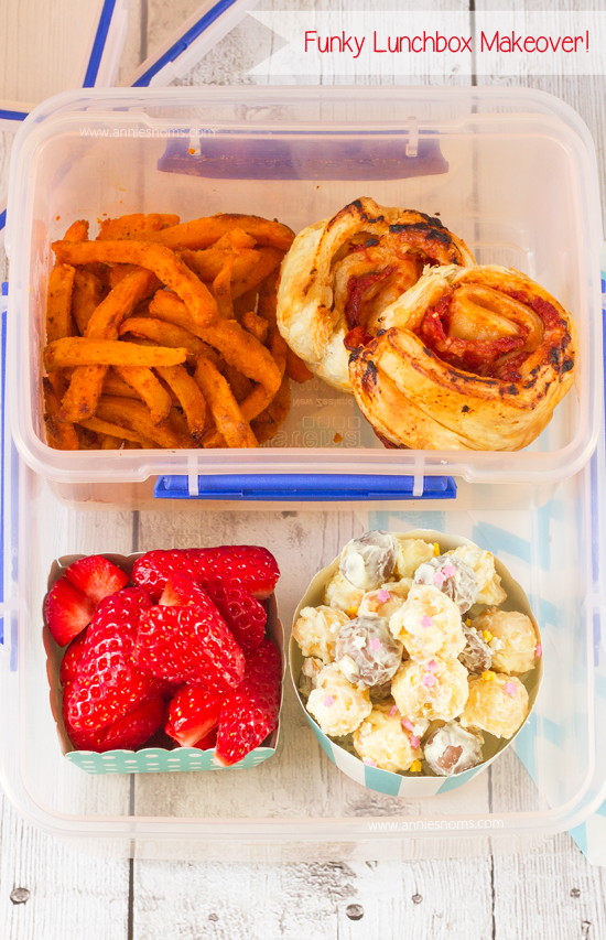 Make lunch interesting by making my puff pastry pizza wheels, sweet potato fries, chocolate popcorn mix and heart shaped strawberries. Easy to make ahead of time, filling, delicious and interesting to look at - the perfect lunch makeover! #Ad