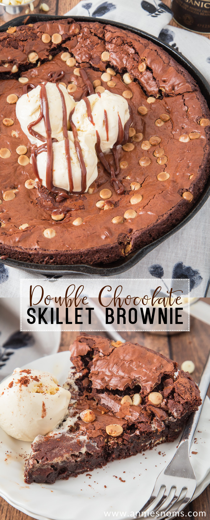 This chewy and decadent Double Chocolate Skillet Brownie is the stuff dreams are made of! Gooey, fudgy and packed with chocolate, it's heaven in every bite!