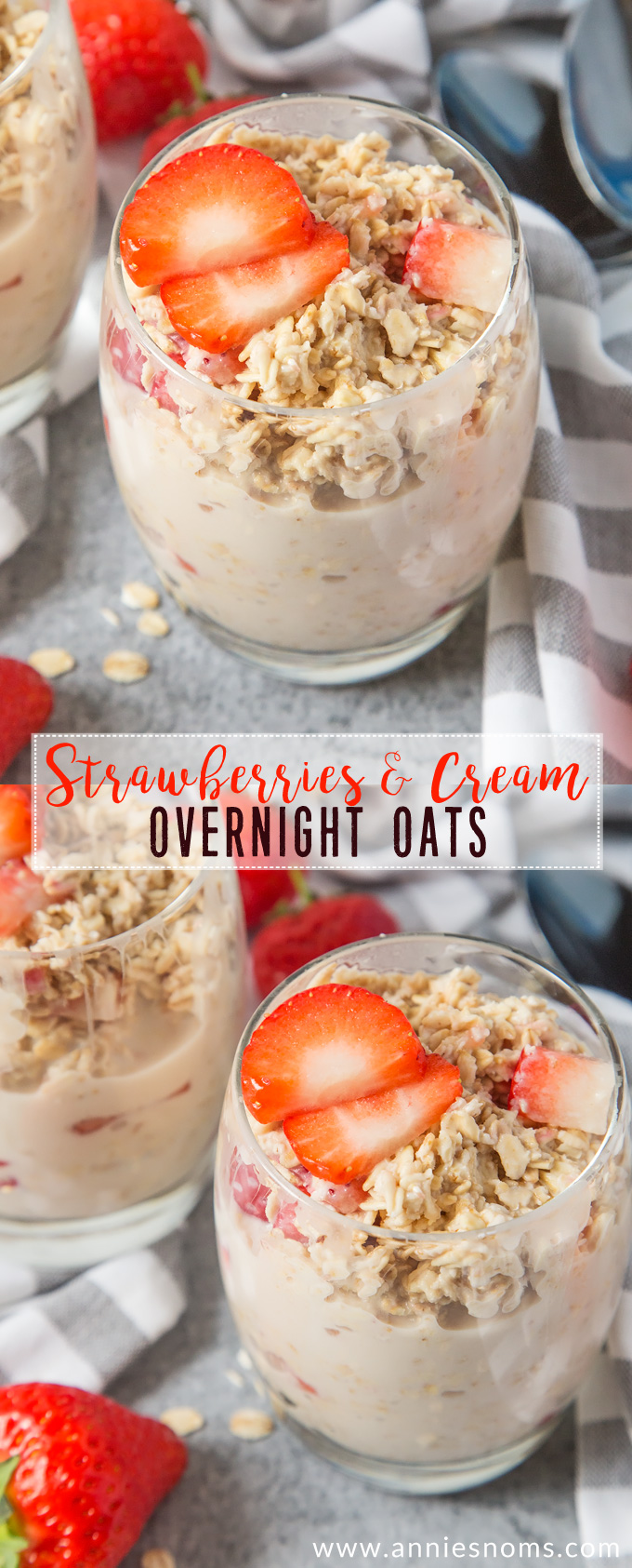 My Strawberries and Cream Overnight Oats are creamy, sweet and jam packed with fresh strawberries. These are bound to become your new favourite breakfast!