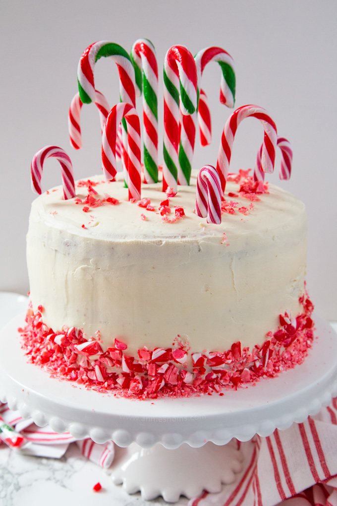 Layers of cake, peppermint buttercream and candy canes make this the ultimate Christmas dessert for any Candy Cane lover! #ad
