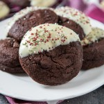 My thick and chewy Peppermint Mocha Cookies are packed with plenty of mint and a hint of coffee; my favourite Christmas drink in cookie form!