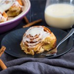 These Cinnamon Rolls are ridiculously easy to make and ready in under 45 minutes. They taste amazing and are topped with luscious cream cheese frosting.