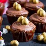 These Galaxy Golden Egg Cupcakes marry together a chocolate and caramel cupcake, chocolate frosting and crisp Galaxy Golden Eggs to create a seriously delicious cupcake!