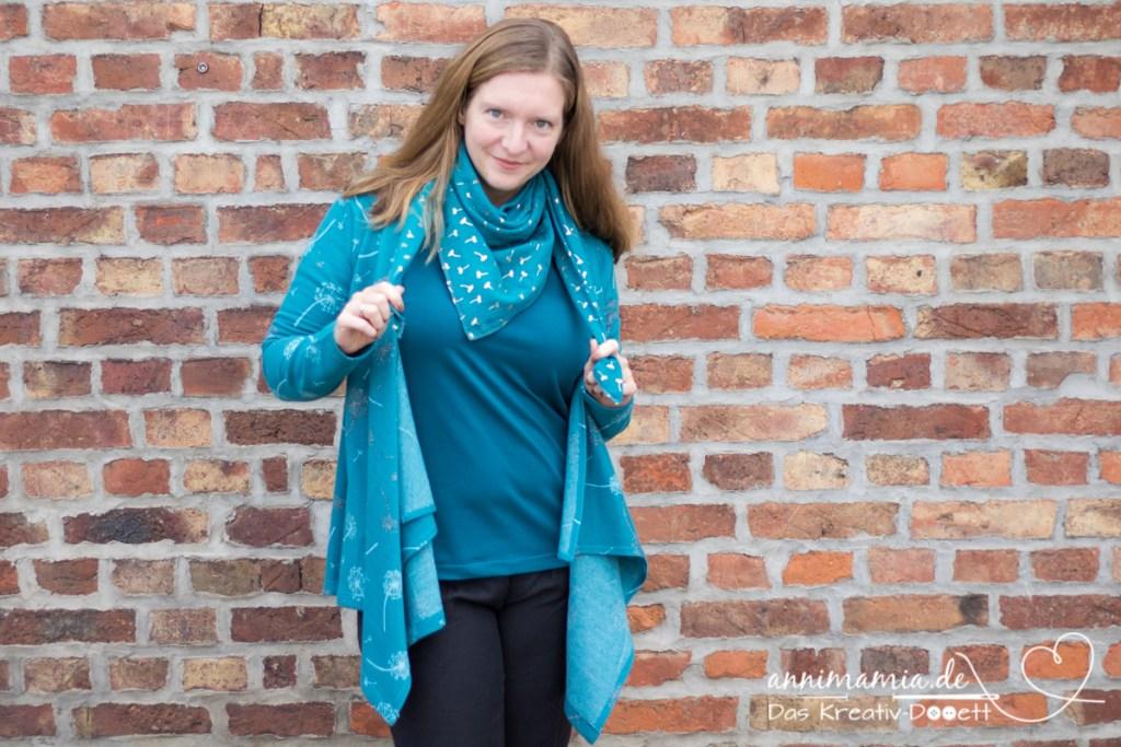 LillesolSchnittzeljagd2020 Woche 2: Shirt Candela mit Musselin-Halstuch und Cardigan von SHO