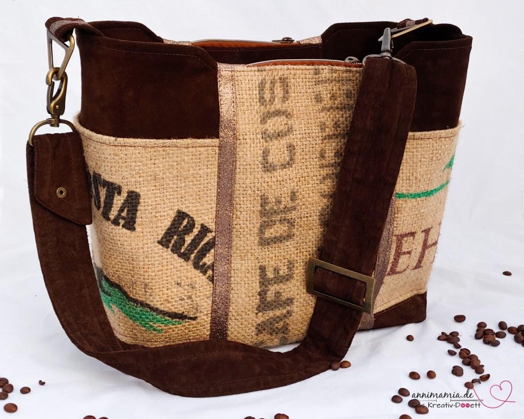 Upcycling-Tasche Larissa von Monja aus Kaffeesack, Leder und mehr