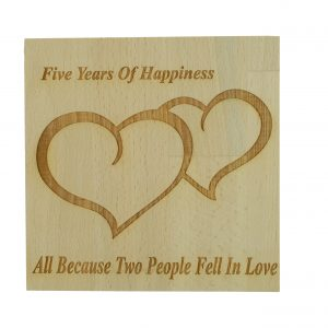 5 Years Of Happiness Beech Block Wood Anniversary Anniversary Gifts