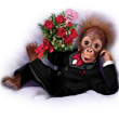 Ashton-Drake Orangutan Doll in Tuxedo with a Rose Bouquet