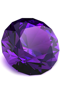 Diamond cut amethyst to represent the modern 33rd anniversary symbol