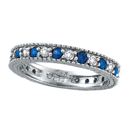 14K White Gold Thin 50ct Diamond And 58ct Sapphire