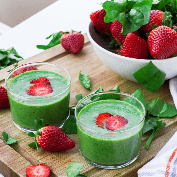 Eat Fat, Get Thin - Creamy Strawberry and Greens Smoothie