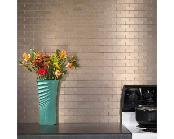 peel and stick metal mosaic stainless steel subway tile in champagne matte finish